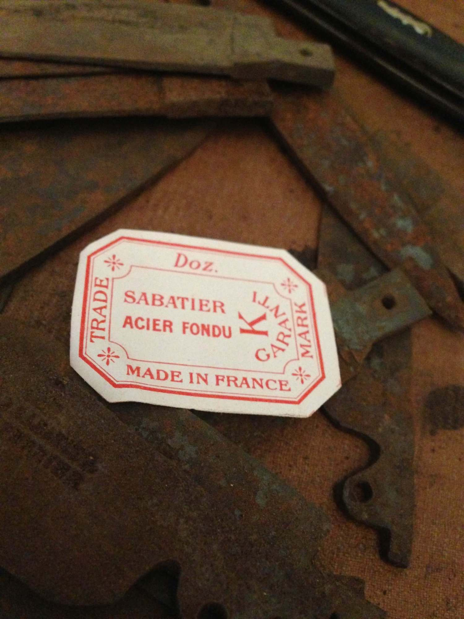 K Sabatier knife label